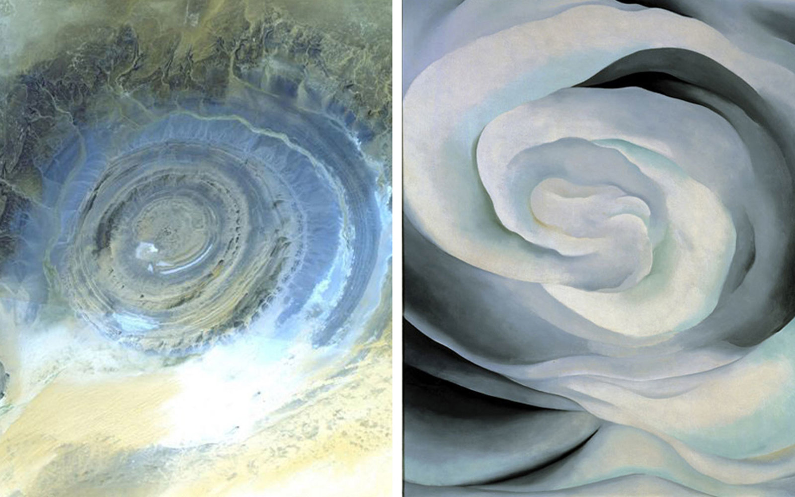 Pictured left: Richat Structure–a circular landmark in the Sahara desert–in Oudane, Mauritania on October 7, 2000; Pictured right: Georgia O'Keeffe, Abstraction White Rose, 1927