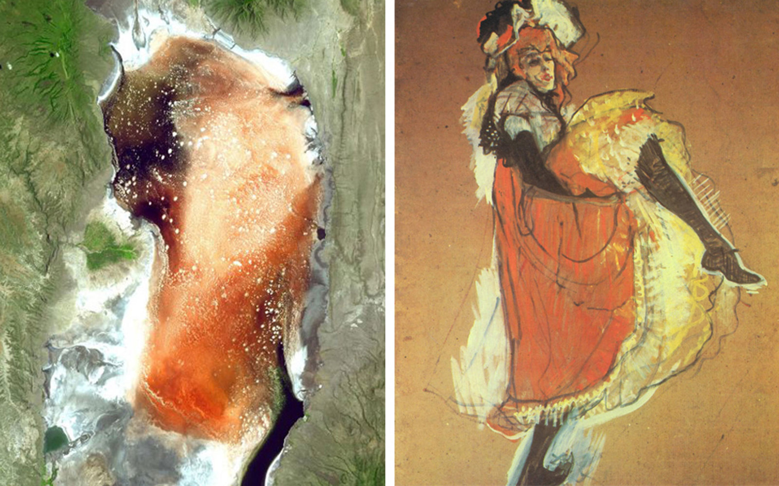 Pictured left: Lake Natron in Tanzania, on March 8, 2003; Pictured right: Henri De Toulouse-Lautrec, Jane Avril Dancing, 1893