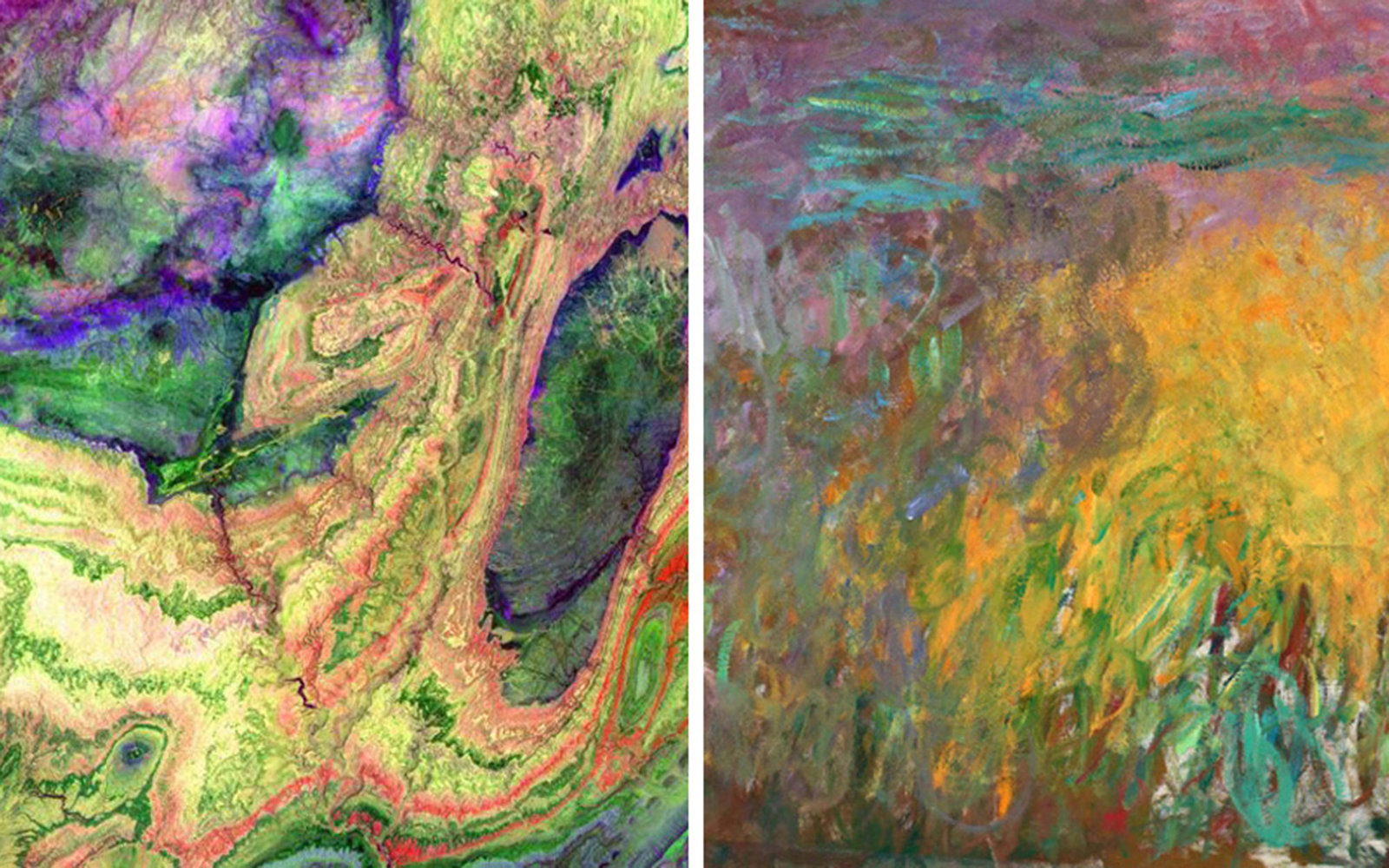 Pictured left: The The Little Atlas Mountains of Morocco on June 13, 2001; Pictured right: Claude Monet, Water Lilies, 1914-1926