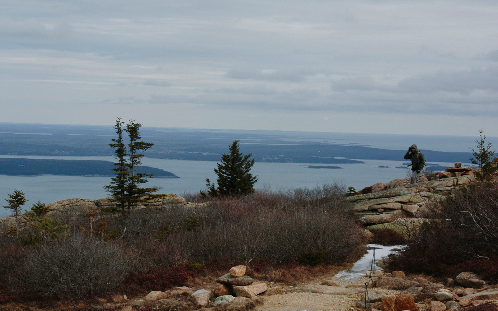 ACADIA NATIONAL PARK, ME - NOVEMBER 22: Andrew Coleman nears the summit of Cadillac Mountain in Acadia National Park on Saturday, November 22, 2014 (Photo by Whitney Hayward/Portland Press Herald via Getty Images)
