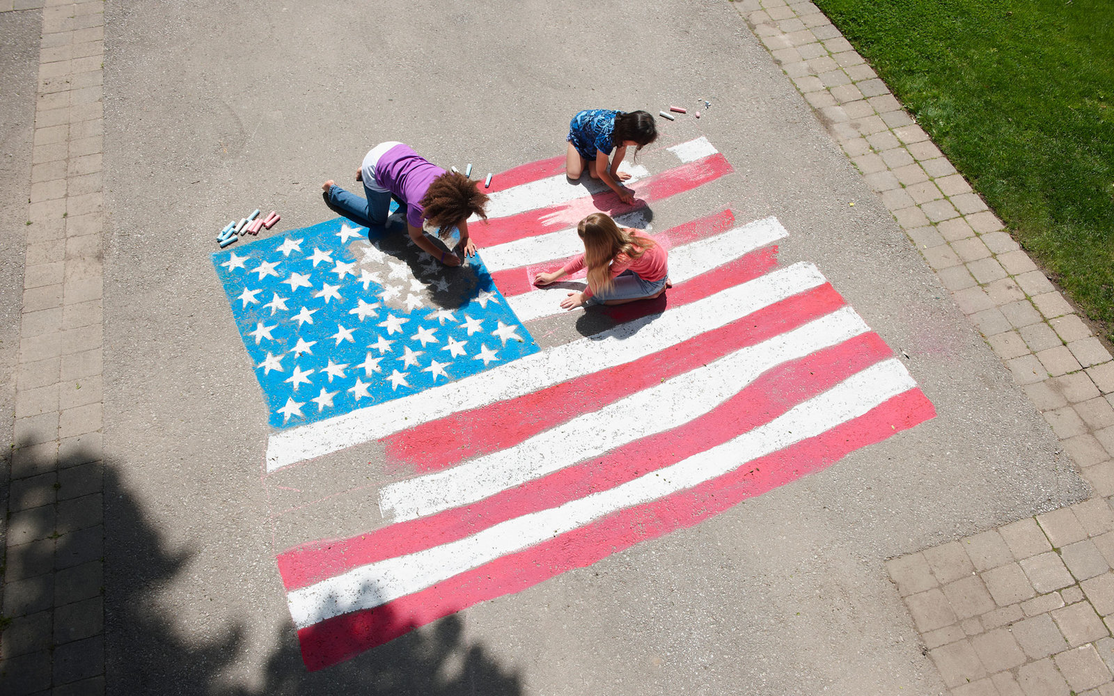 American Flag Chalk Drawing