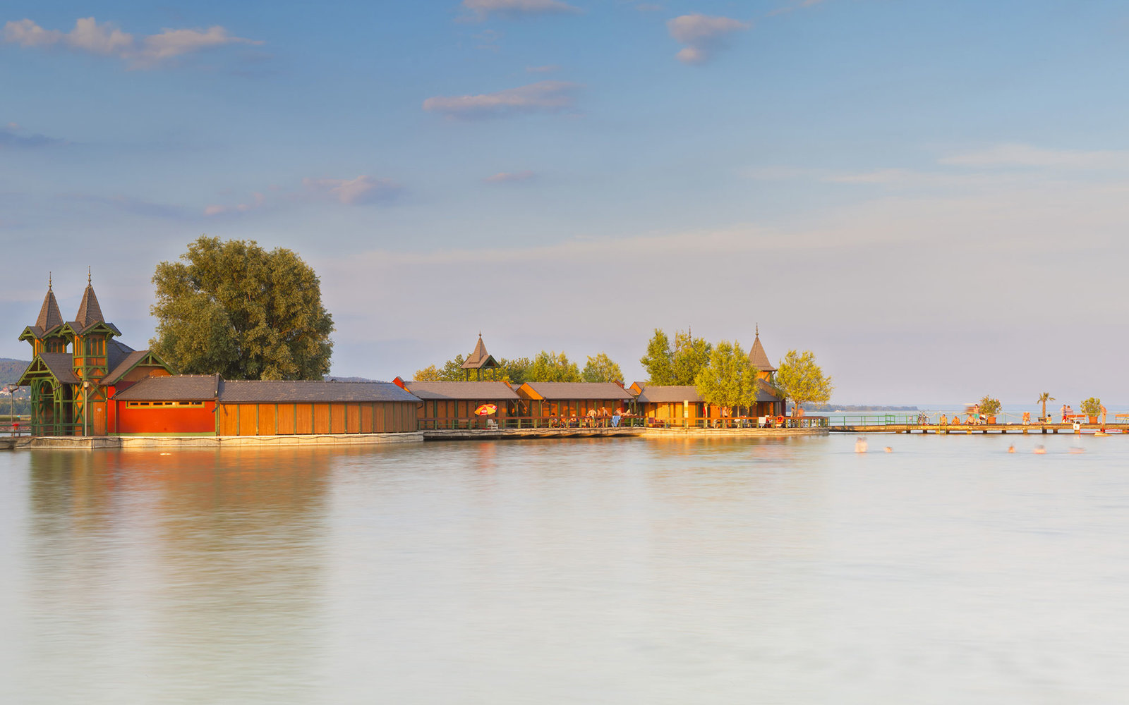 Hungary, Zala County, Keszthely, Pier on Lake Balaton