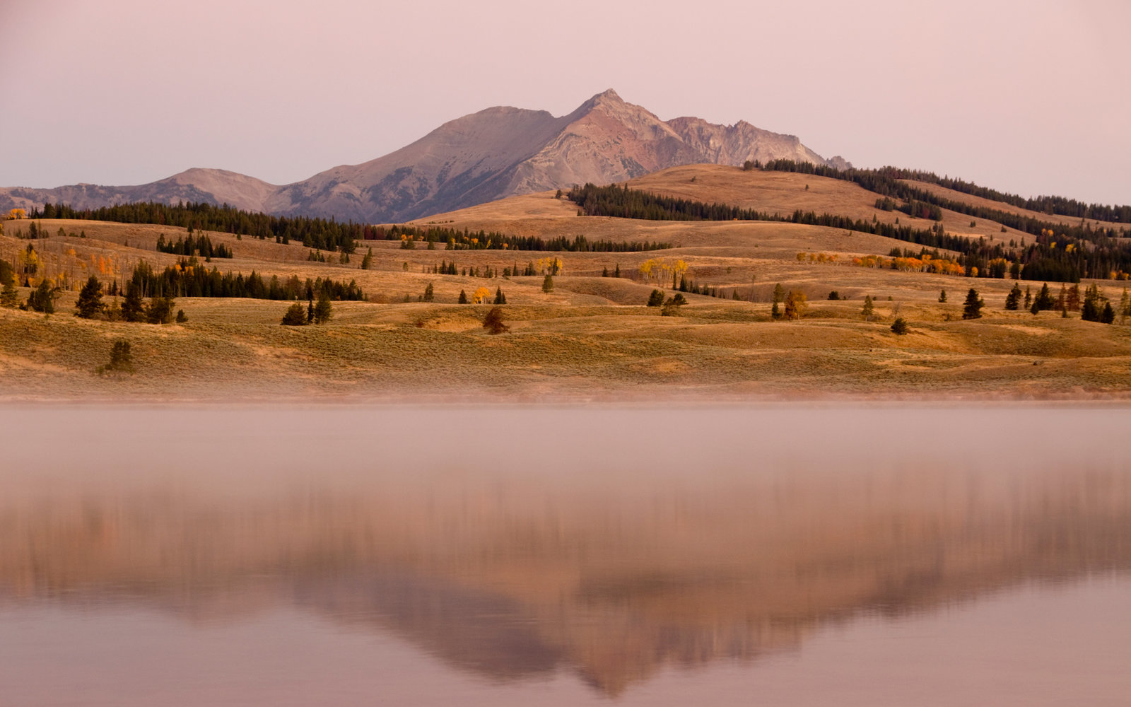 Swan Lake in the high country of Yellowstone National Park Wyoming