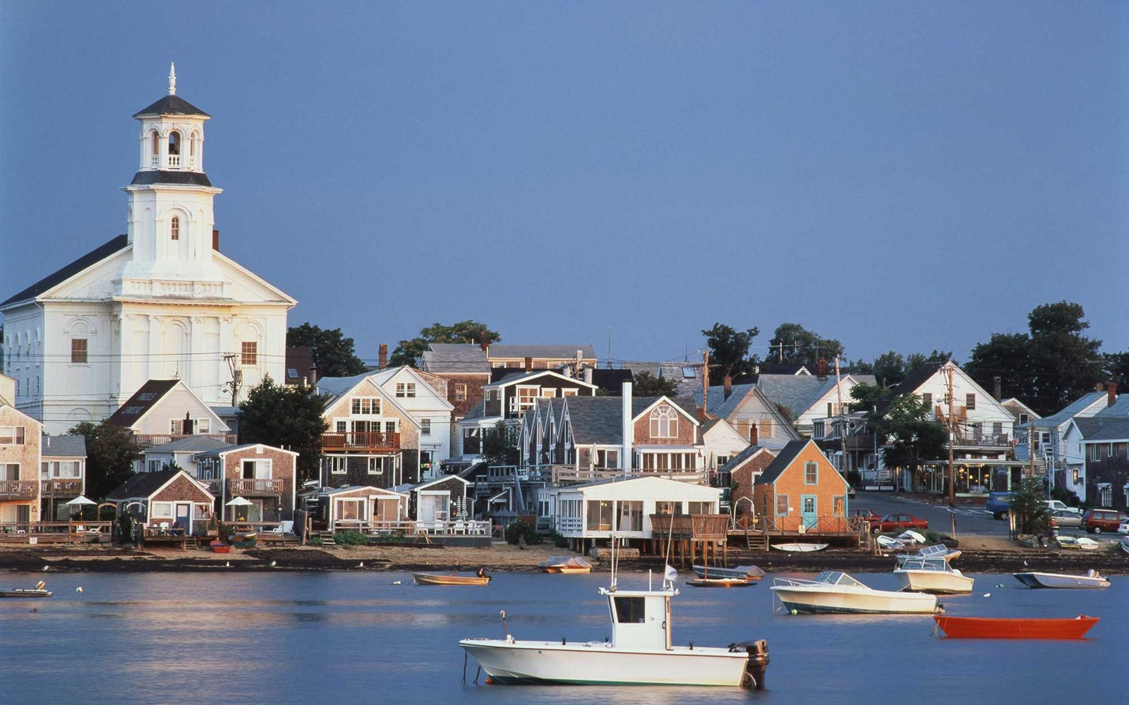 Provincetown Harbor and town in morning light, Cape Cod, Massachusetts, USA