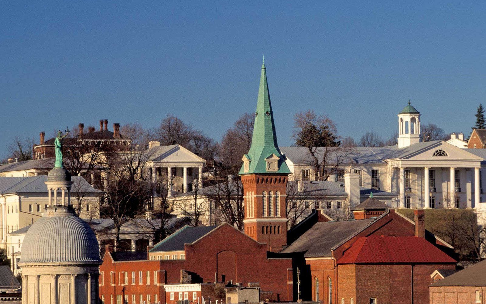 Virginia, Staunton. Skyline With Church Steeple And Government Buildings.