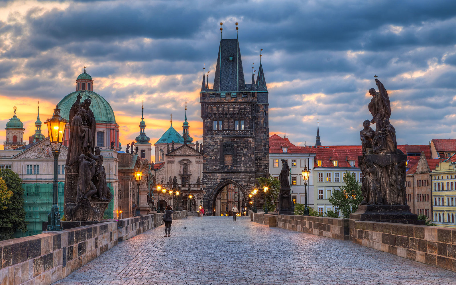 Charles bridge in Prague early in the morning.
