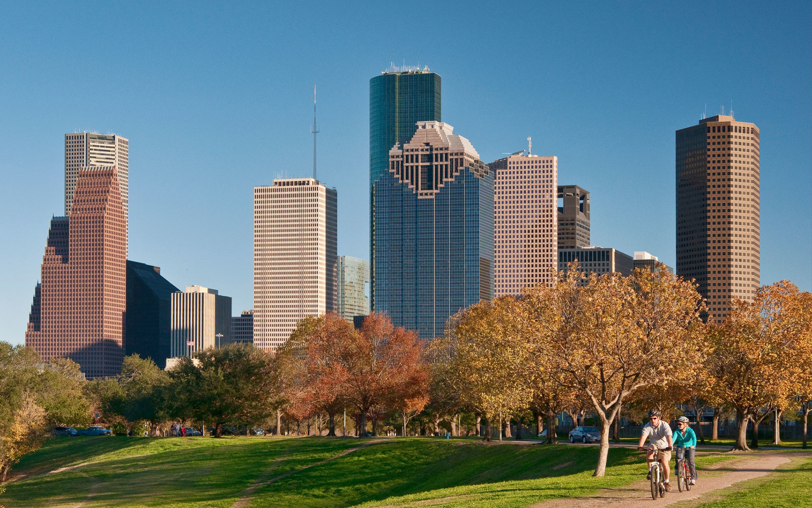 Houston Downtown from Allen Parkway Jogging Trail, Buffalo Bayou Park, Houston, Texas, USA
