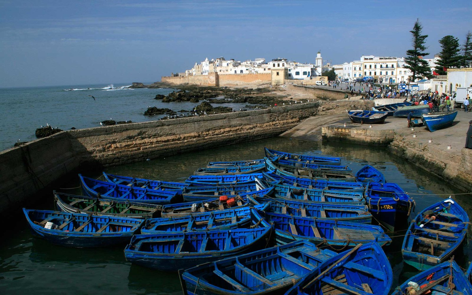 10th September 2009; Fishing boats in Essaouira, Morocco. Picture by David Pillinger.