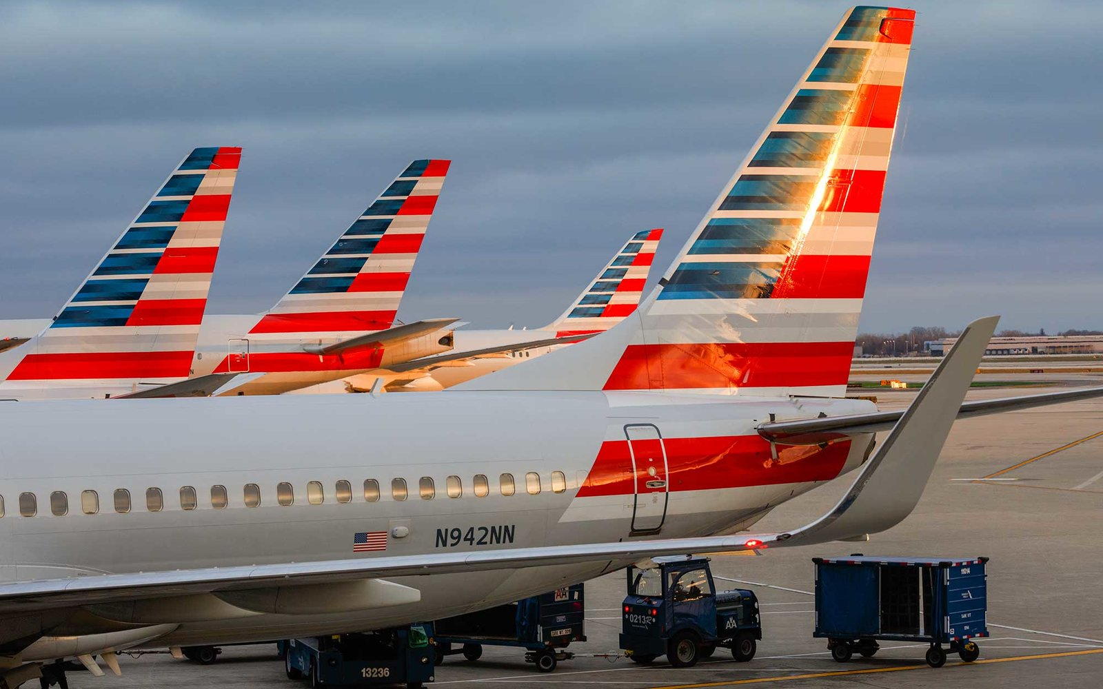 American Airlines planes prepare for takeoff at Chicago's O'Hare International Airport, on Christmas day December 25, 2015. (Photo by John Gress/Corbis via Getty Images)
