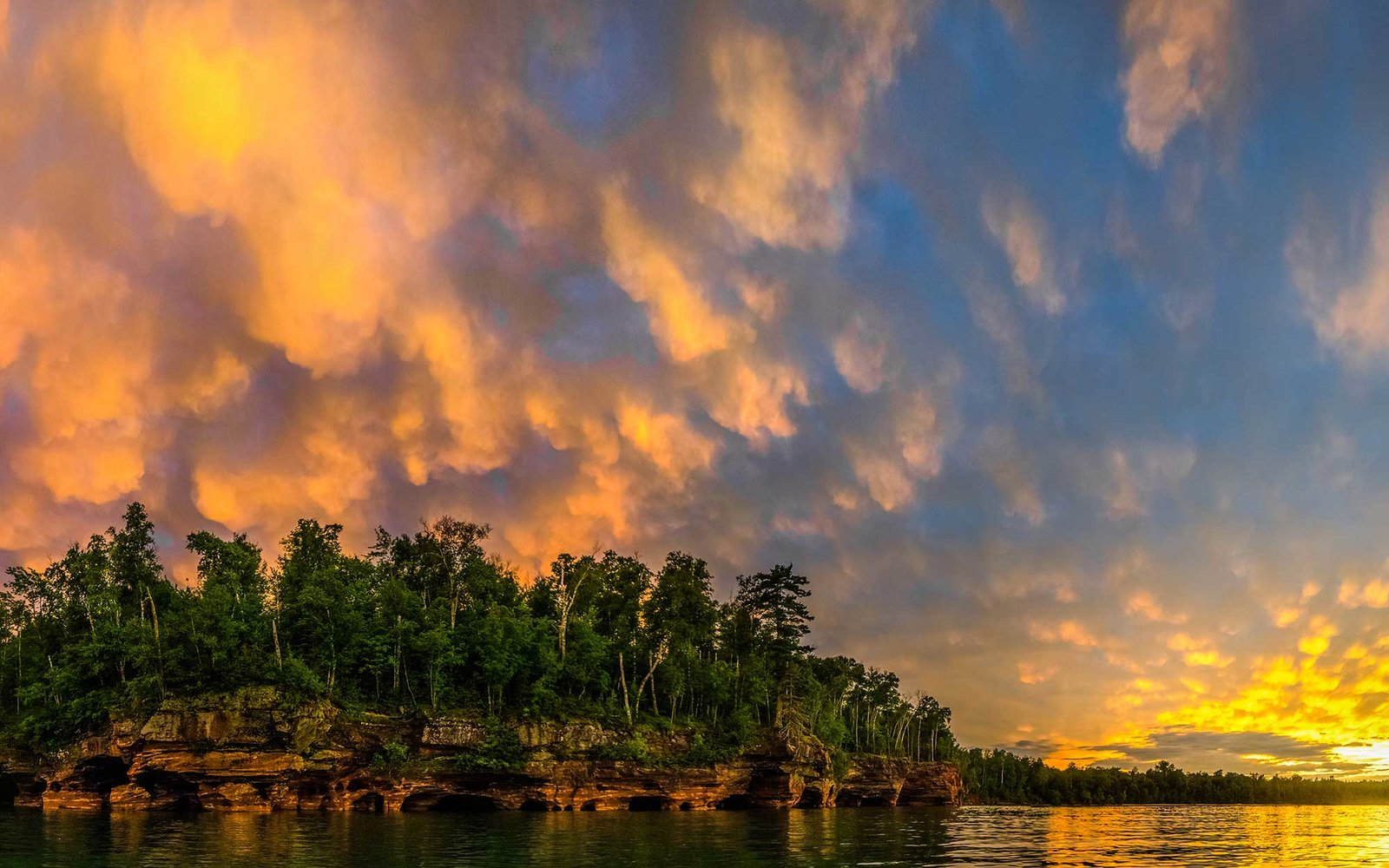 Swallow Point at Sand Island, Apostle Islands.  Mammatus Clouds in the Sky.