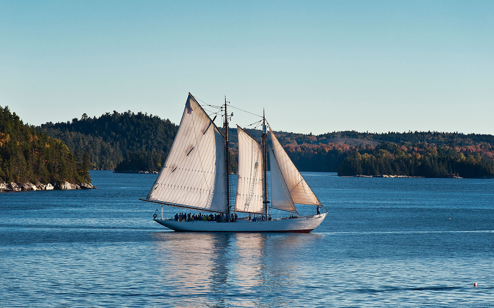 Yacht sailing off coast of Castine, Maine