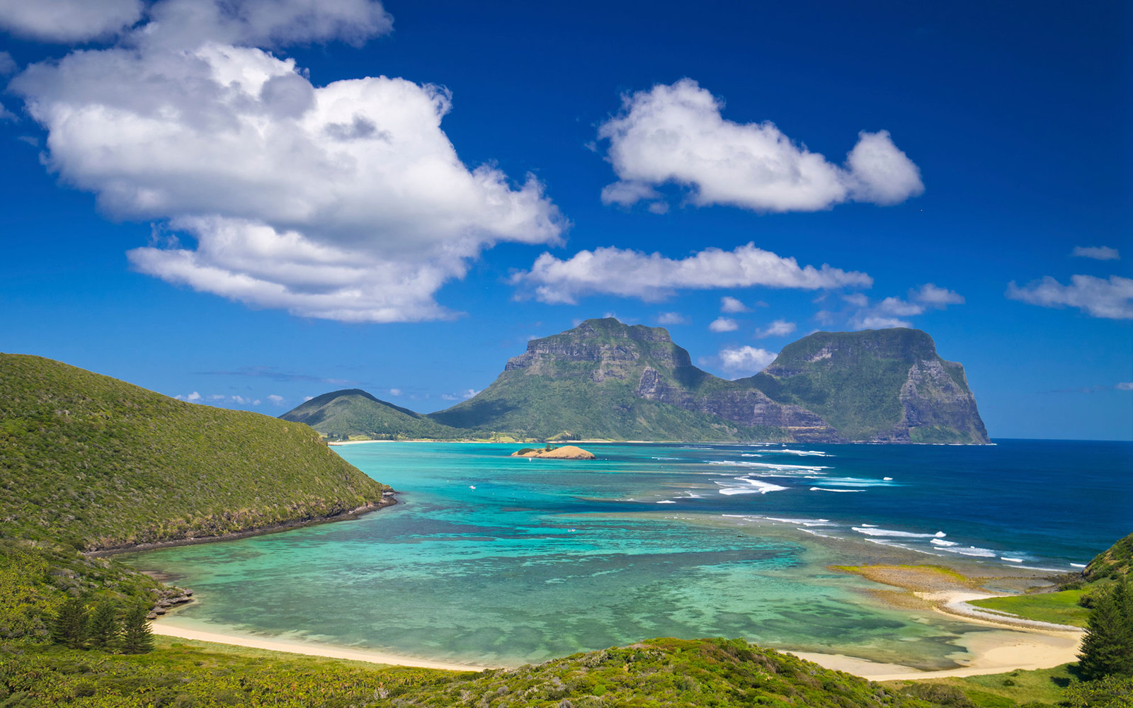 View south over lagoon to Mt Lidgbird and Gower from Mt Eliza, Lord Howe Island