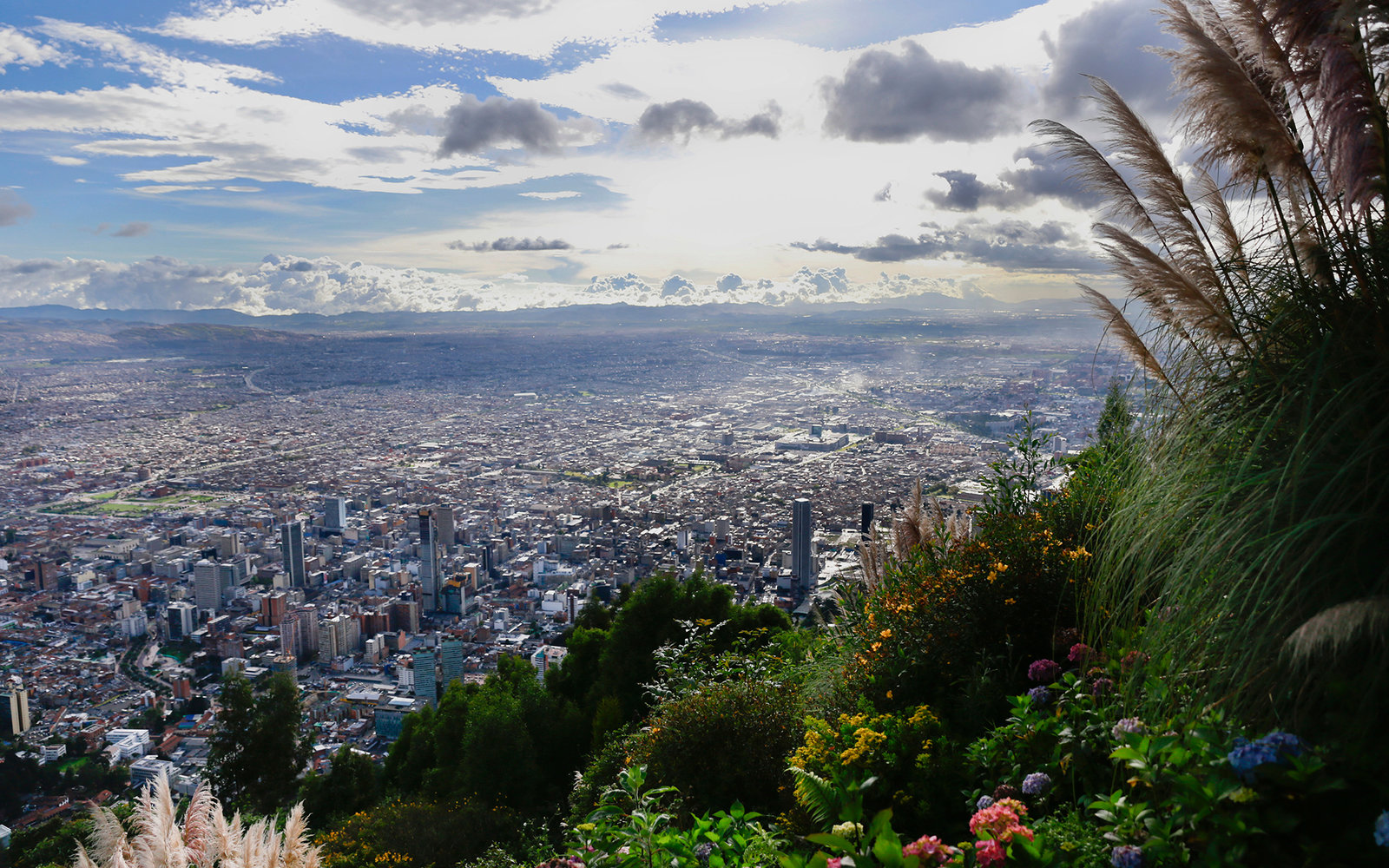 City buildings are seen from Cerro de Monserrate in Bogota, Colombia