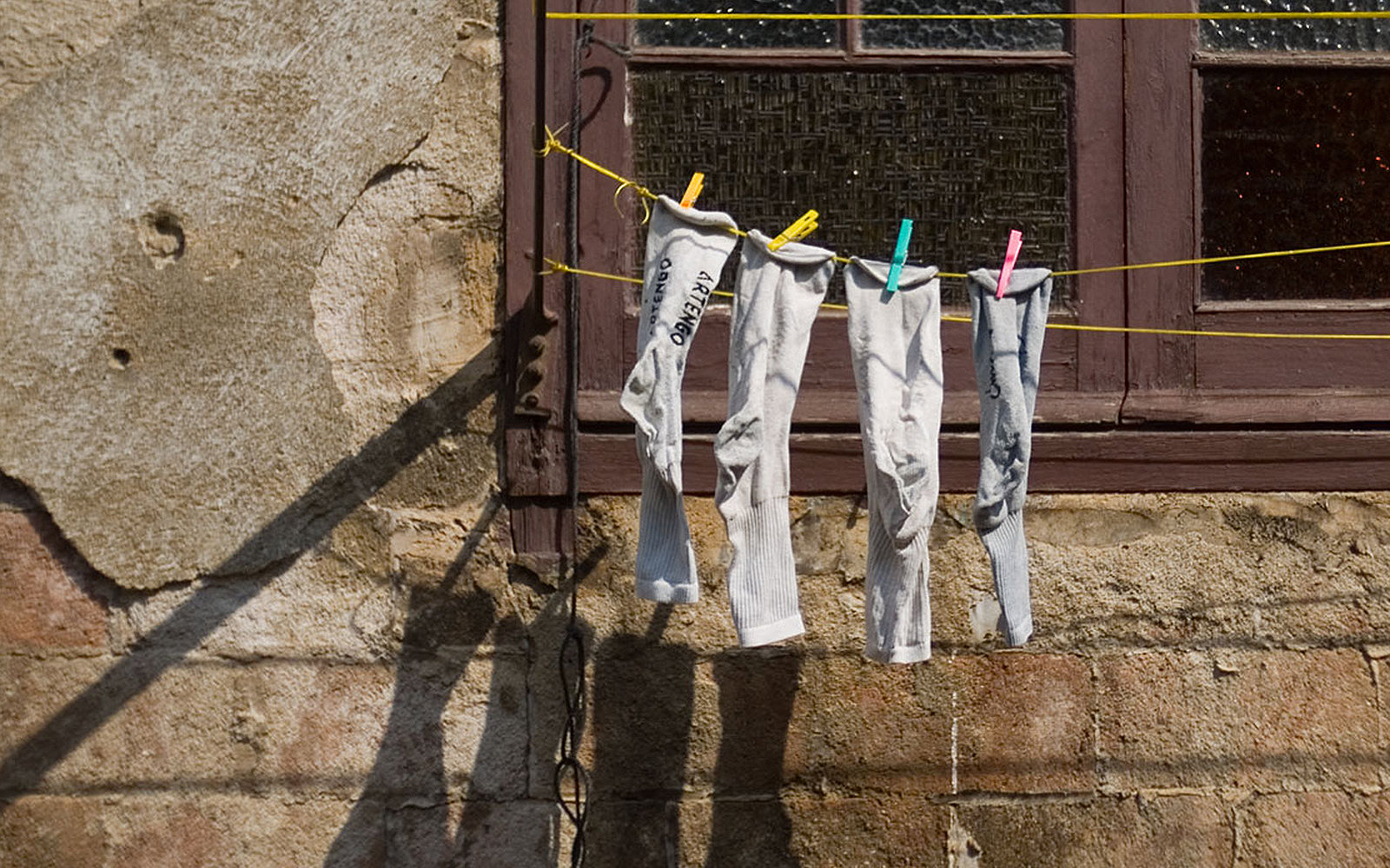 socks hanging to dry