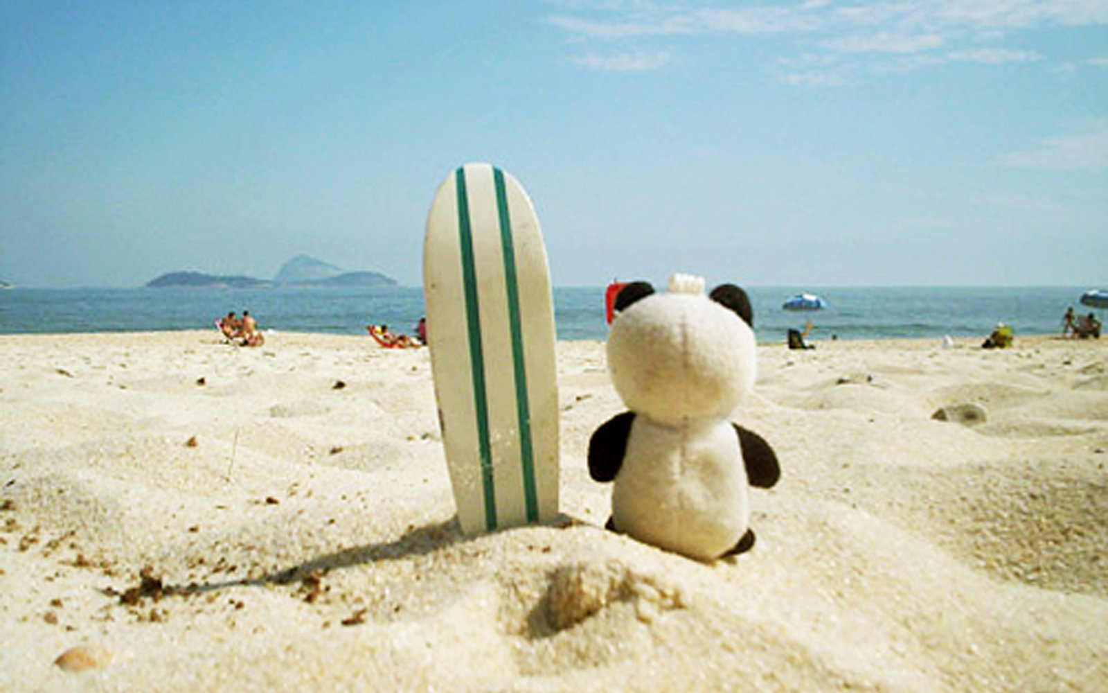 Panda toy on vacation