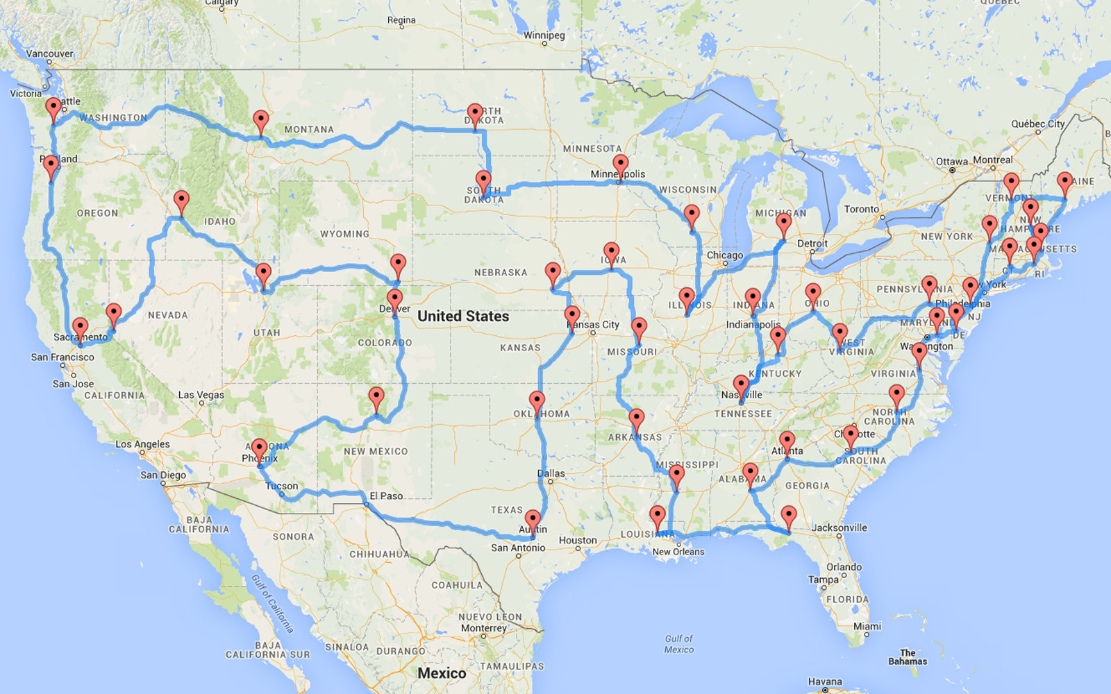 This Man Planned The Most Epic And Efficient Road Trip Of All - Map usa road