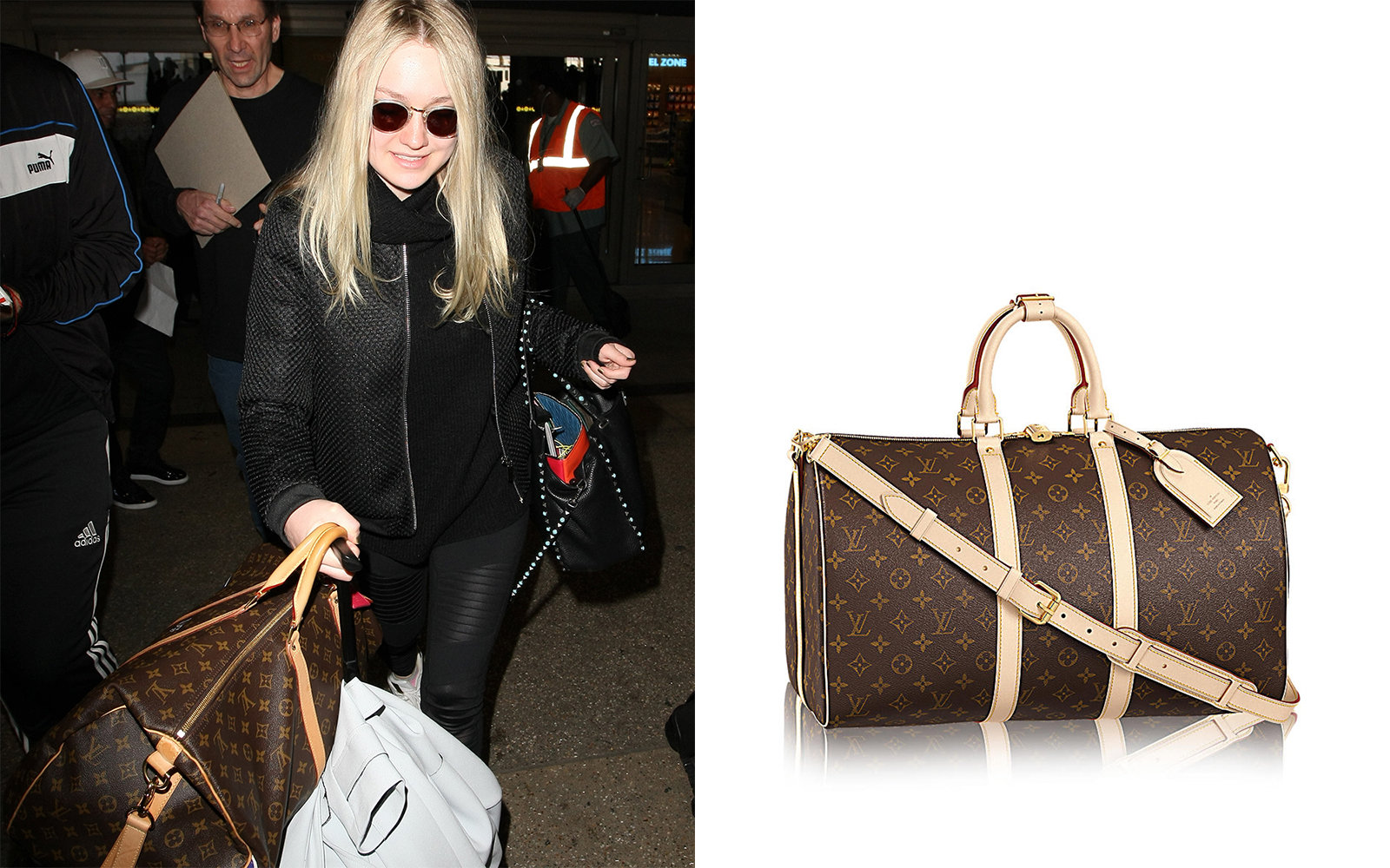 louis vuitton overnight bag. louis vuitton dakota fanning celebrity luggage overnight bag