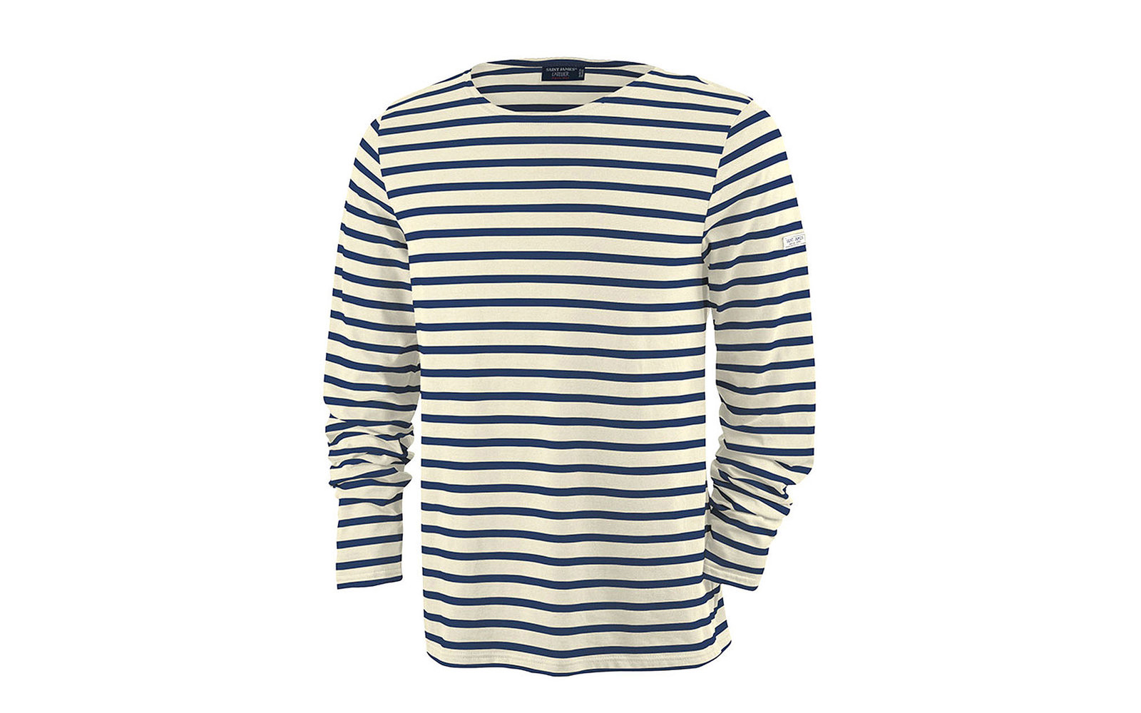 Saint James Minquiers Moderne Unisex Breton Striped Shirt (Ecru/Navy)