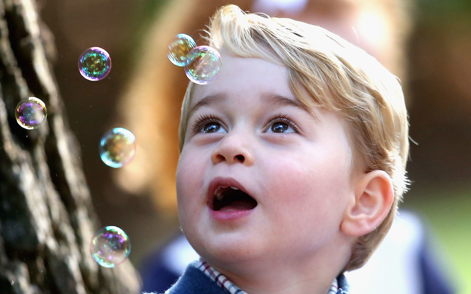 Prince George really loves bubbles.