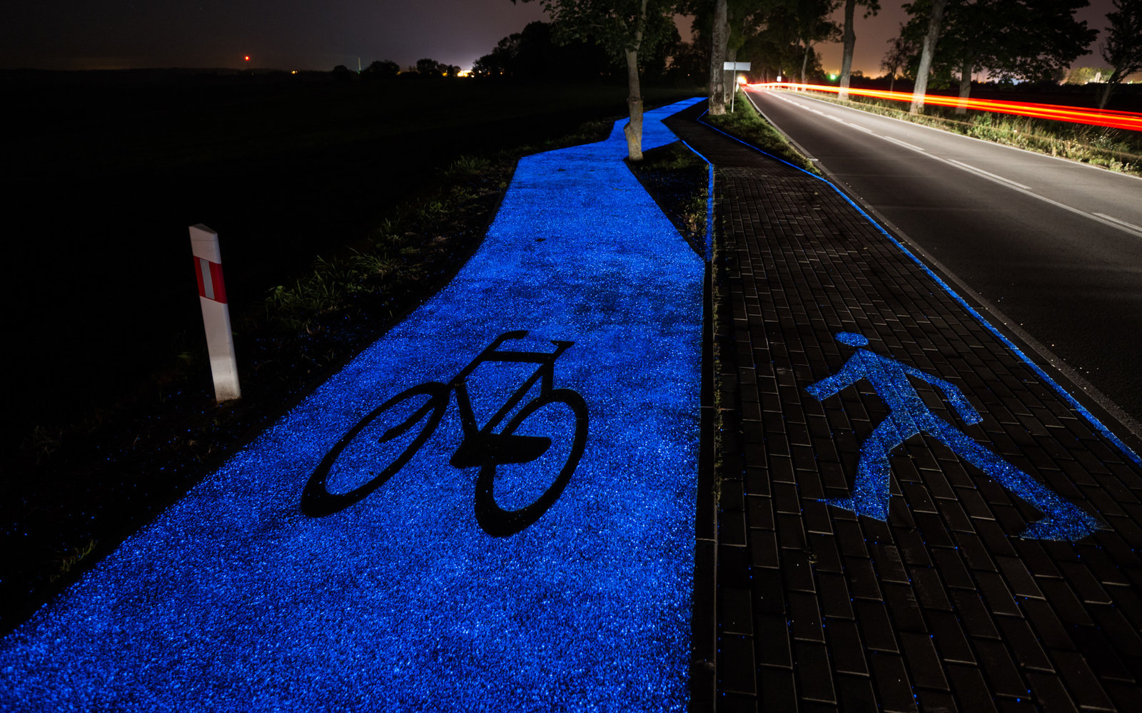 Glowing Bike Path in Poland