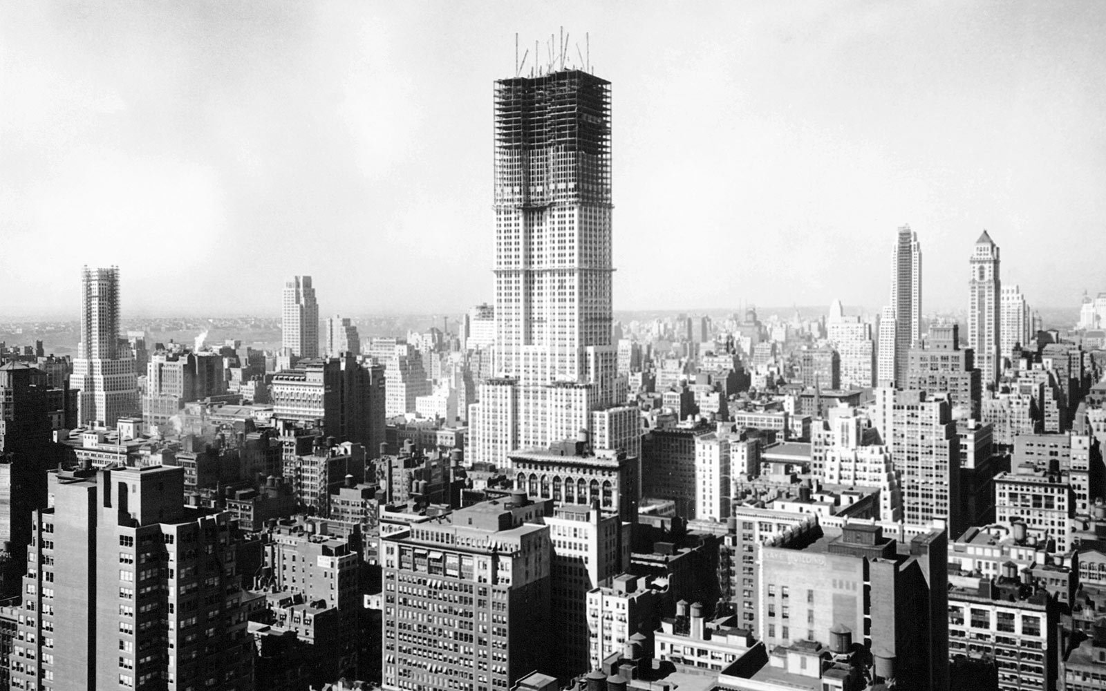 Empire State Building under construction, New York City