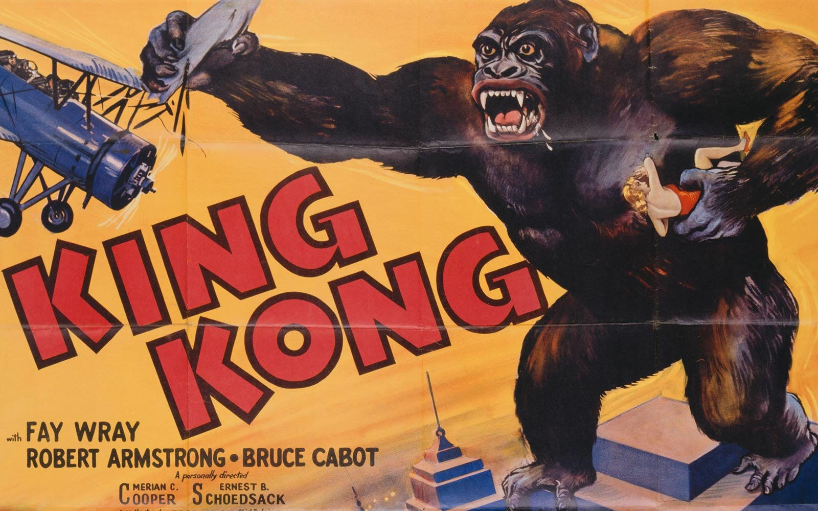 A poster for Merian C. Cooper's 1933 adventure film 'King Kong'