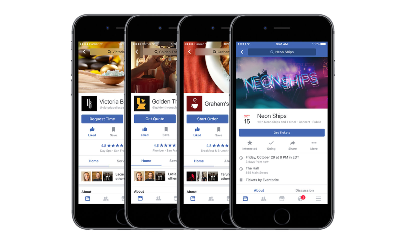 Facebook Recommendations allows you to make dinner reservations and buy movie tickets