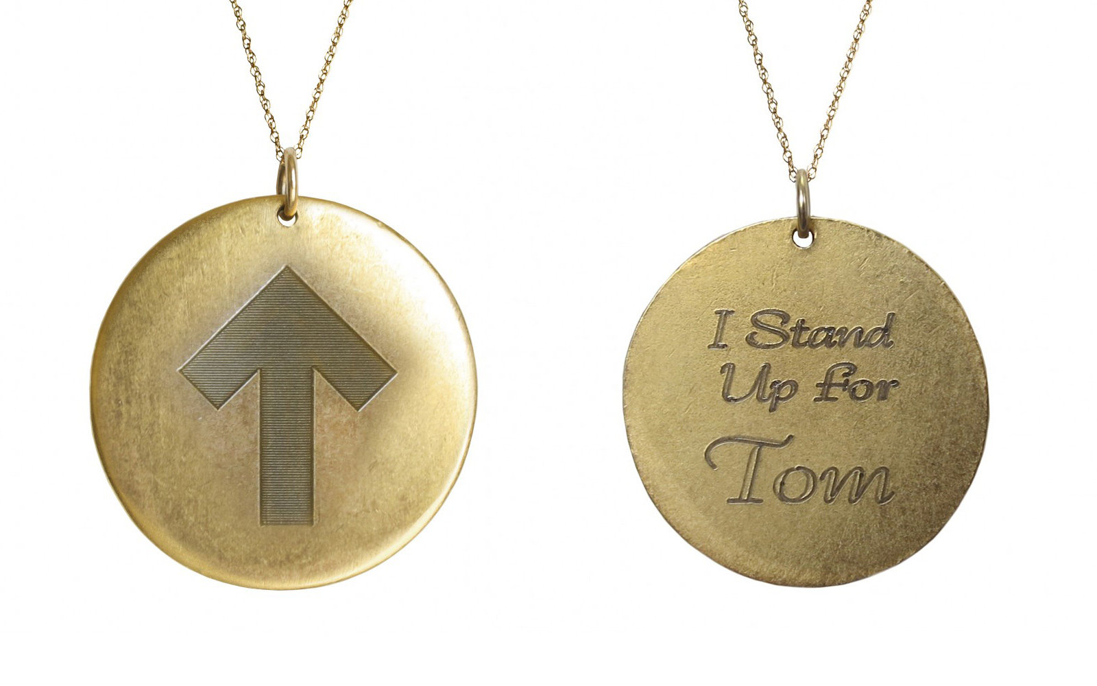 Golden Thread Stand Up Strong Personalized Pendant Necklace