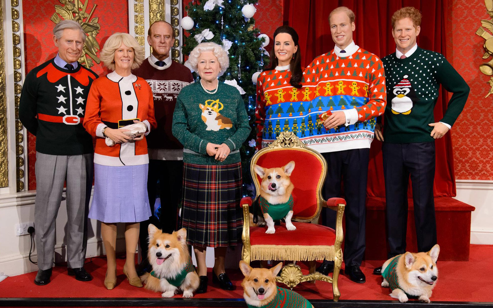 Royal Family Christmas Sweaters At Madame Tussauds