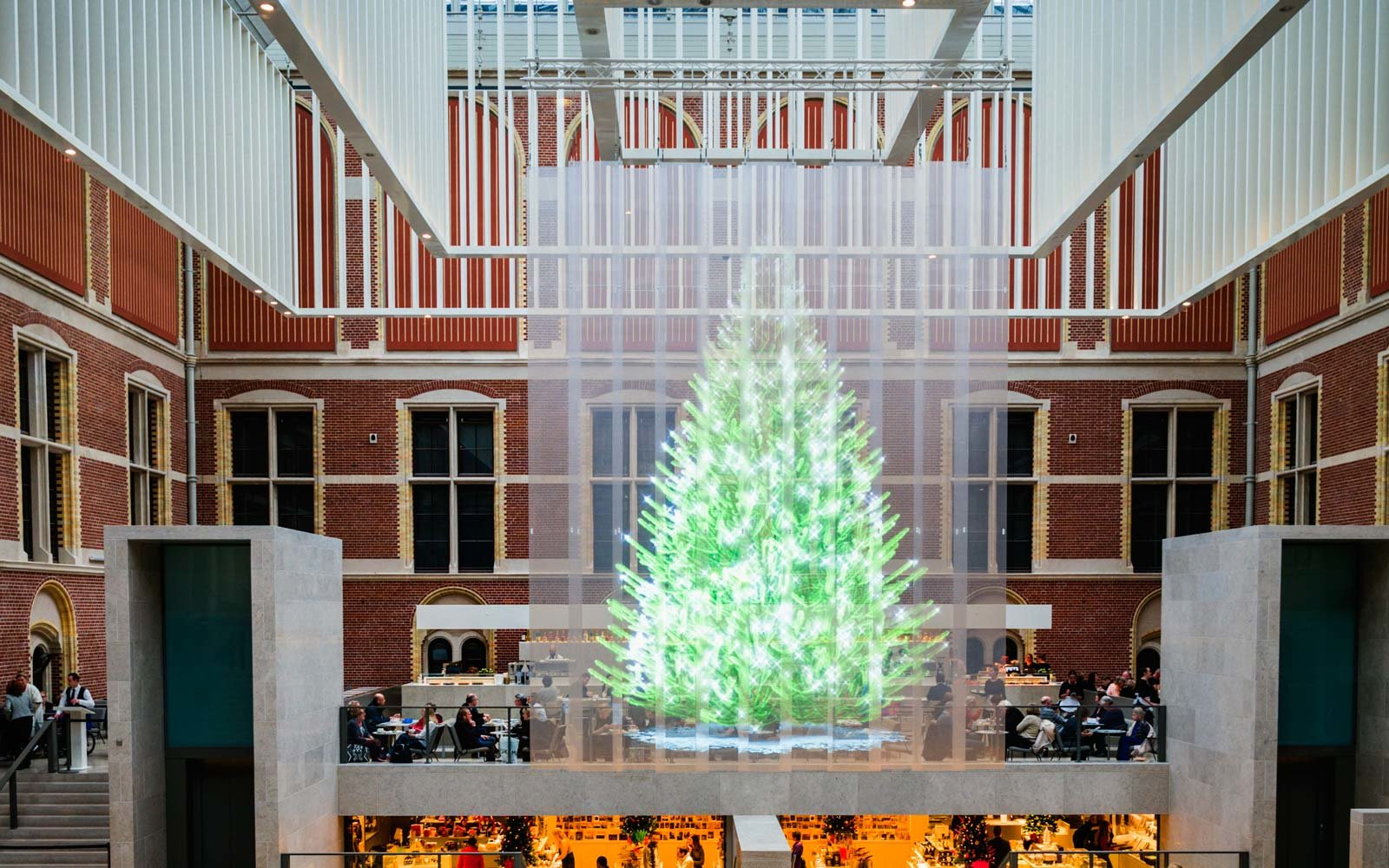 the holographic christmas tree in amsterdam netherlands