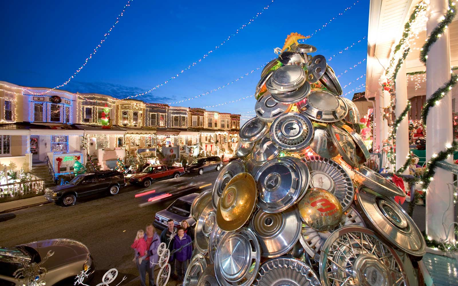 The Hubcap Christmas Tree in Baltimore,  Maryland