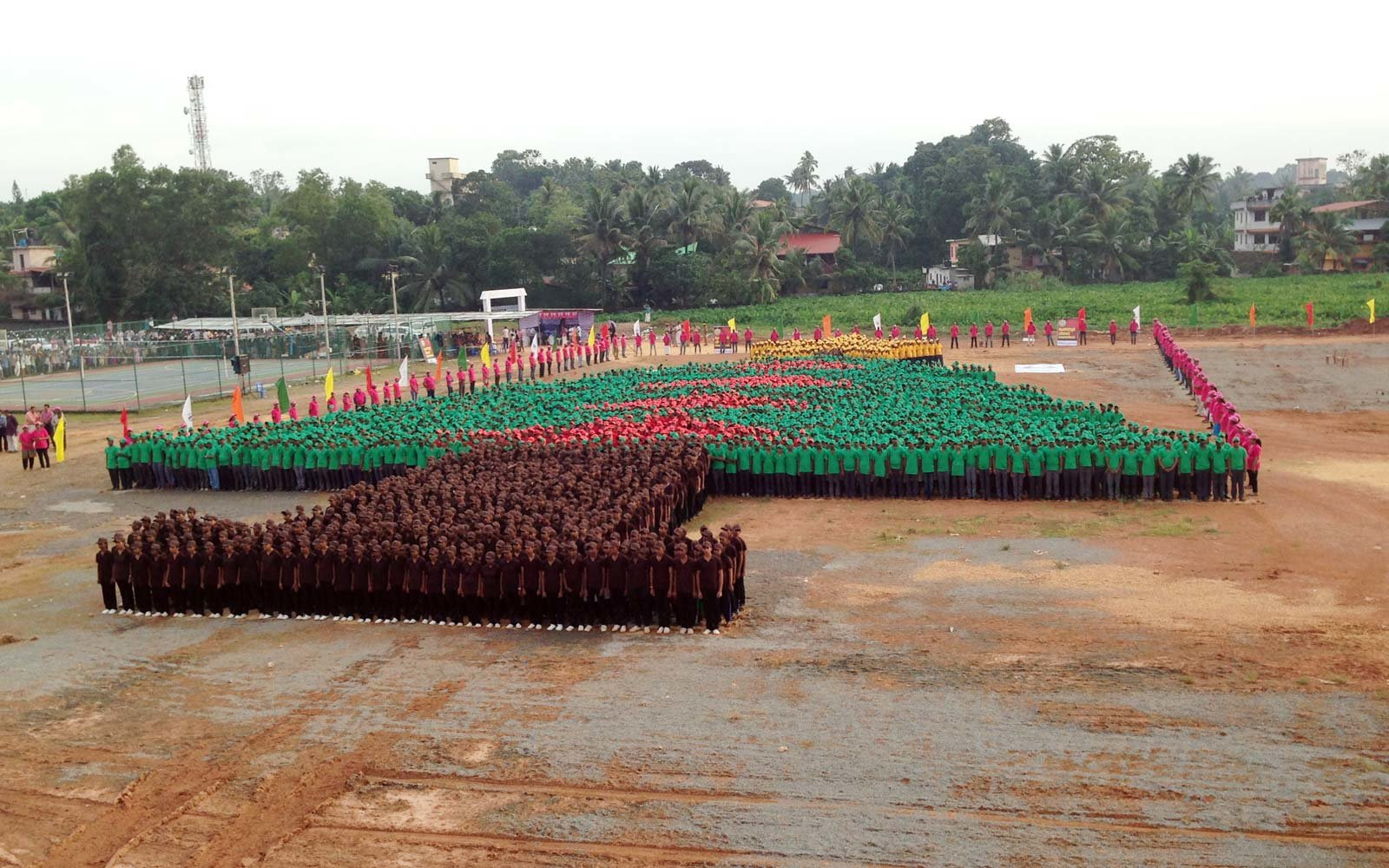 The Largest Human Christmas Tree in Chengannur,  India