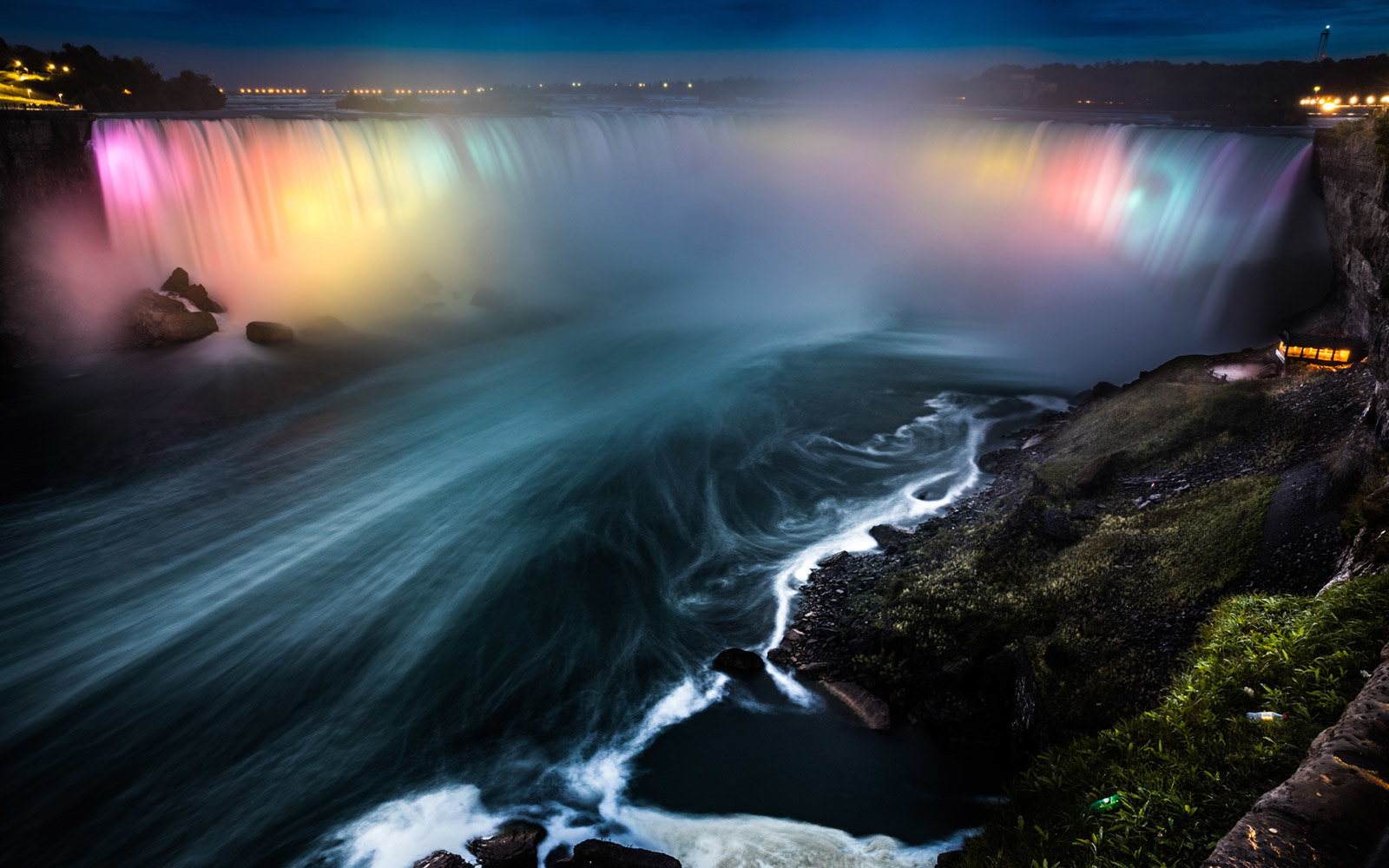 Niagara Falls, River, Neon Lights