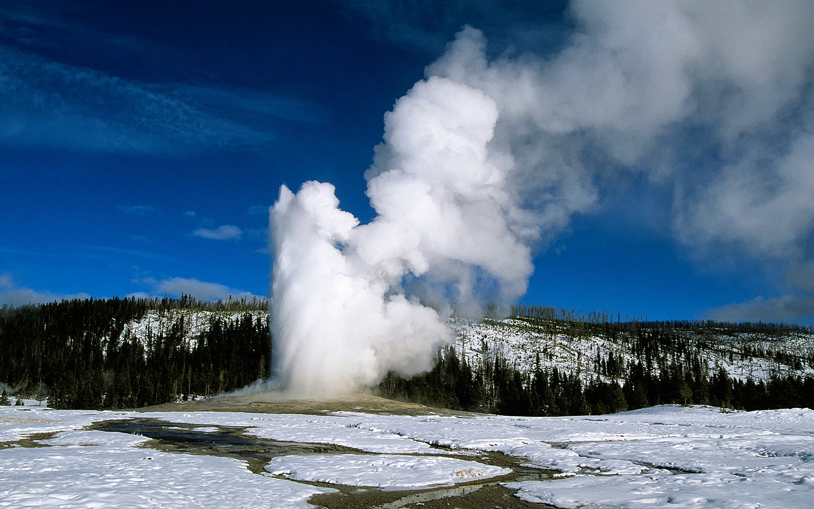 Old Faithful makes snow