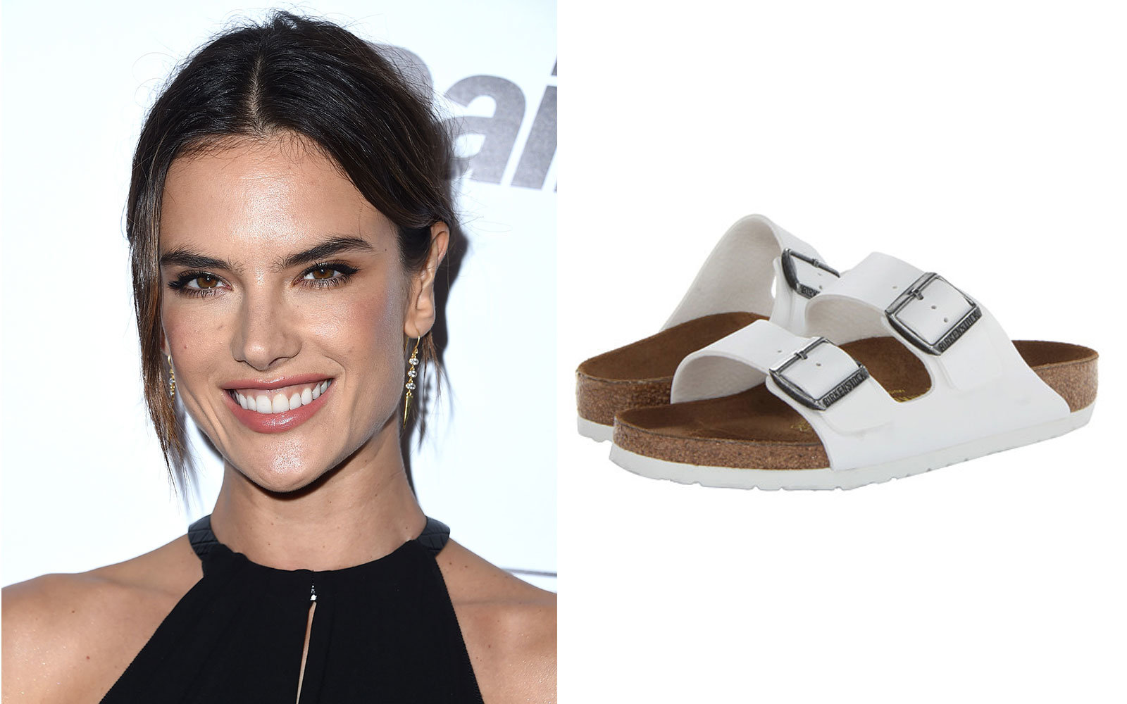c9b817bcc8f Alessandra Ambrosio in Birkenstock Arizona Sandals. Celebrity Travel Shoes
