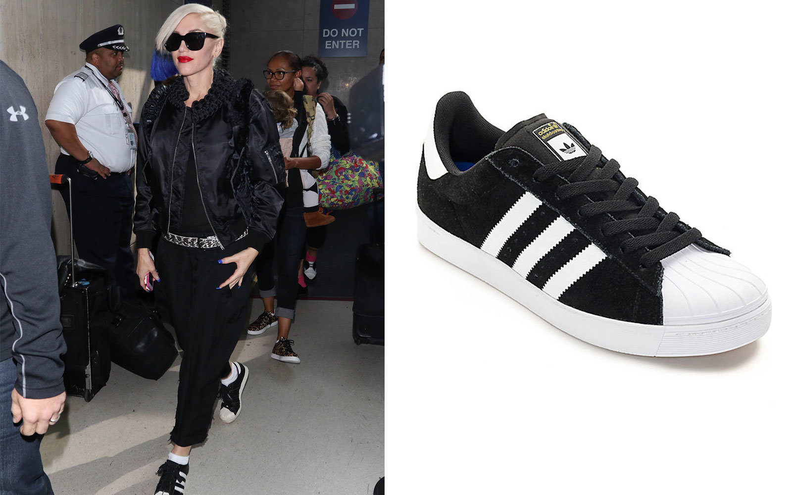 Gwen Stefani in Black and White Adidas Superstars