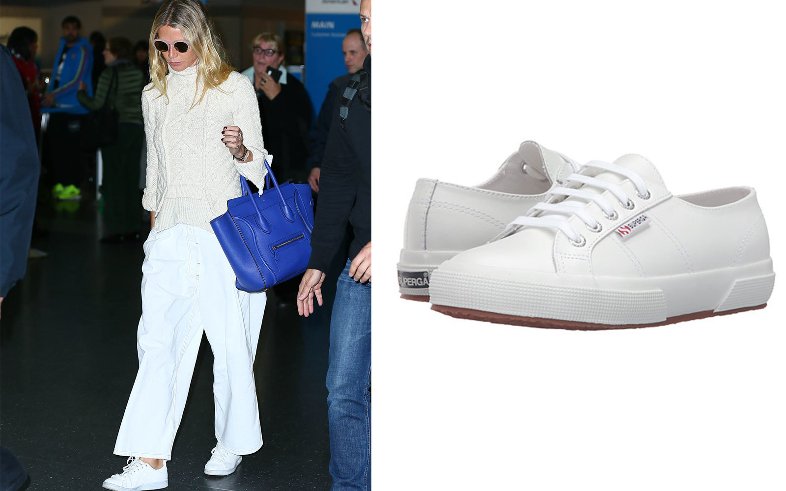 290626078166 Gwyneth Paltrow in White Low Top Sneakers. Celebrity Travel Shoes