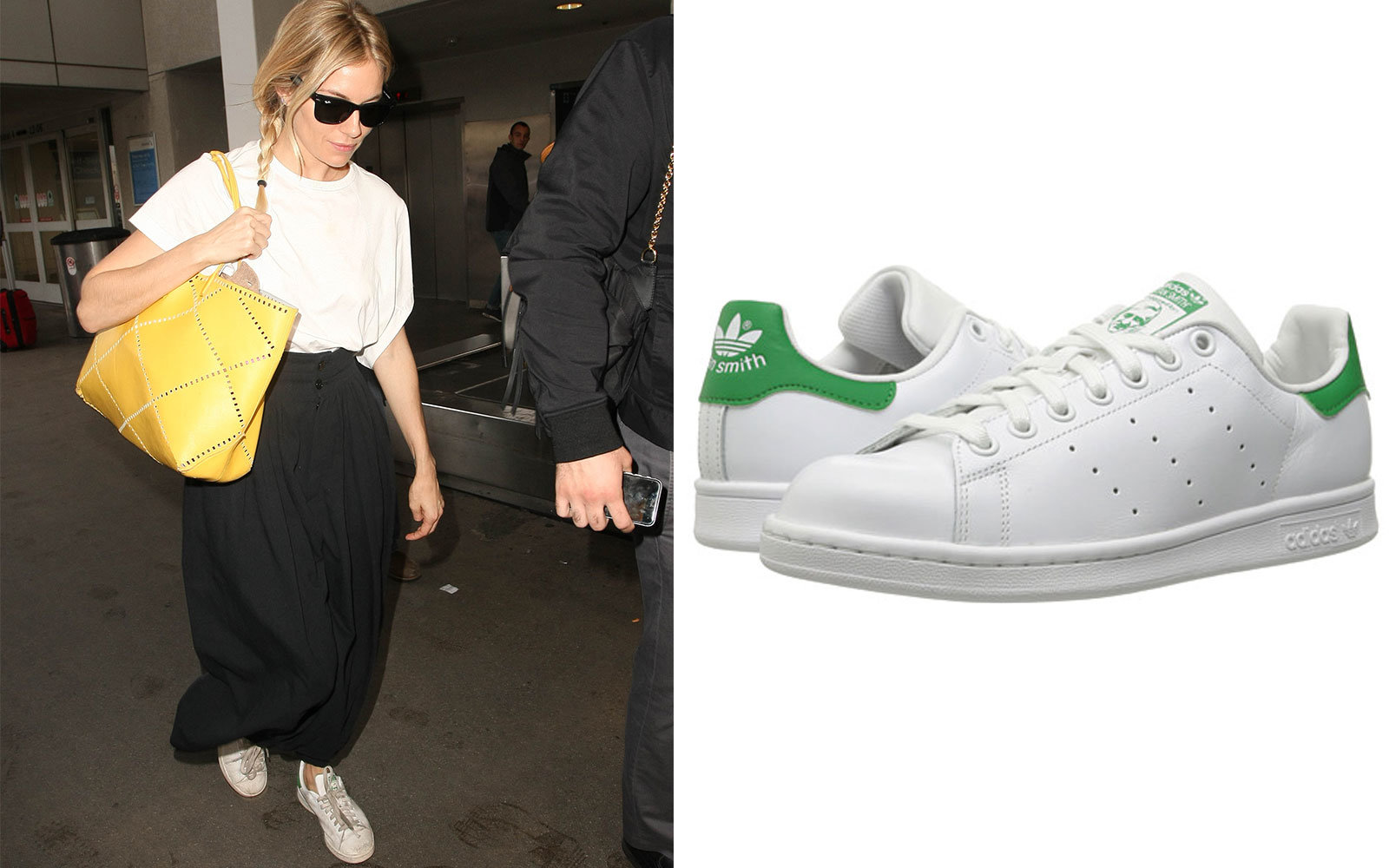 089e18007 Sienna Miller in Adidas Original Stan Smiths. Celebrity Travel Shoes