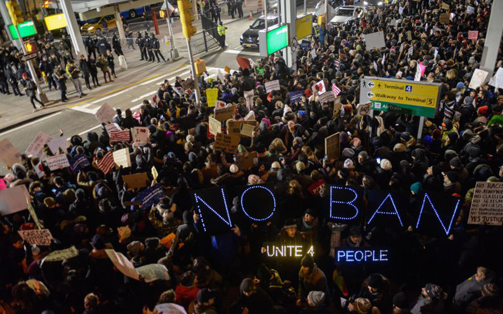 Protestors rally against the Muslim immigration ban at JFK on Jan. 28, 2017 in New York City.
