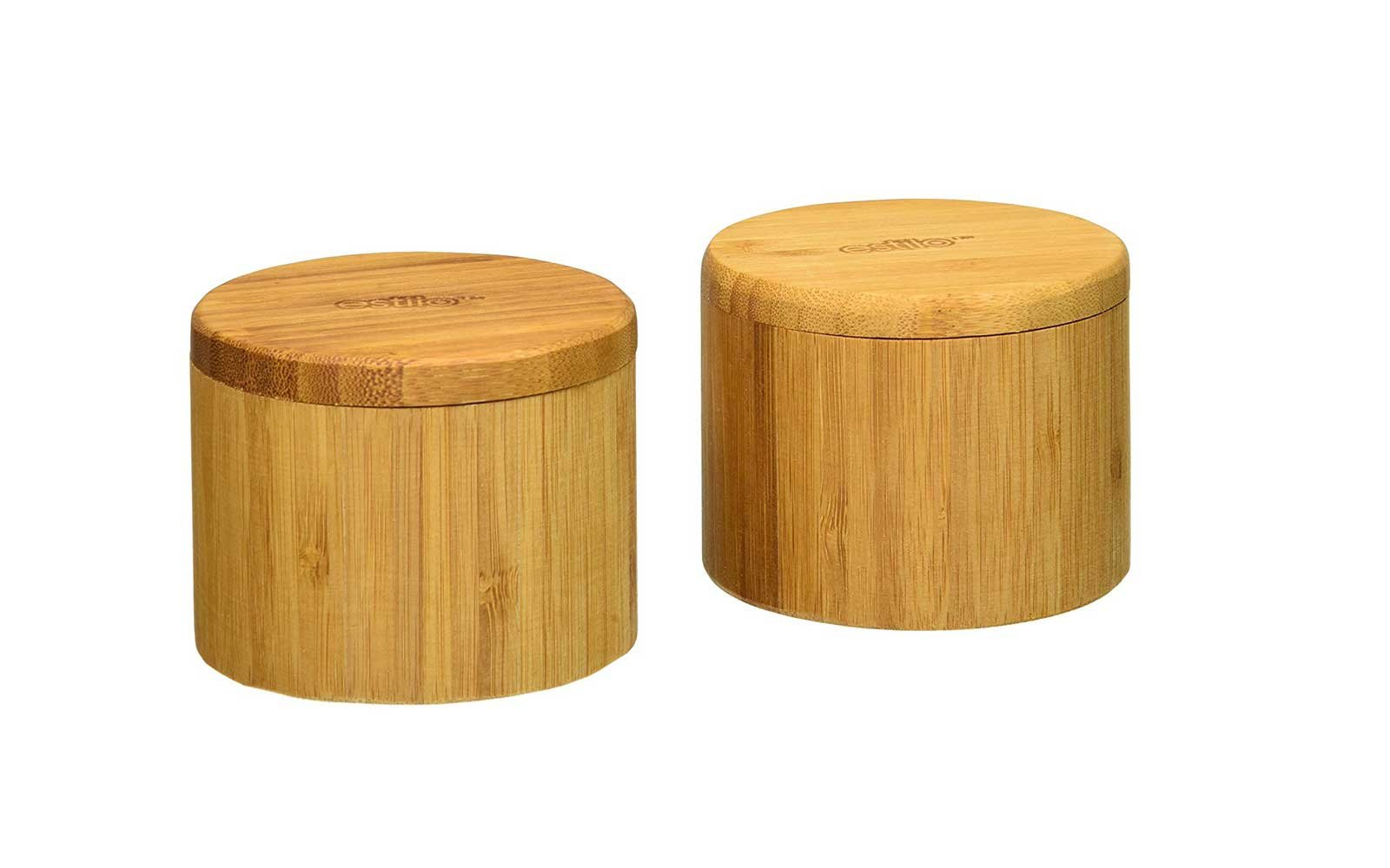 Estilo Natural Bamboo Salt and Spice Box with Lid, Set of 2