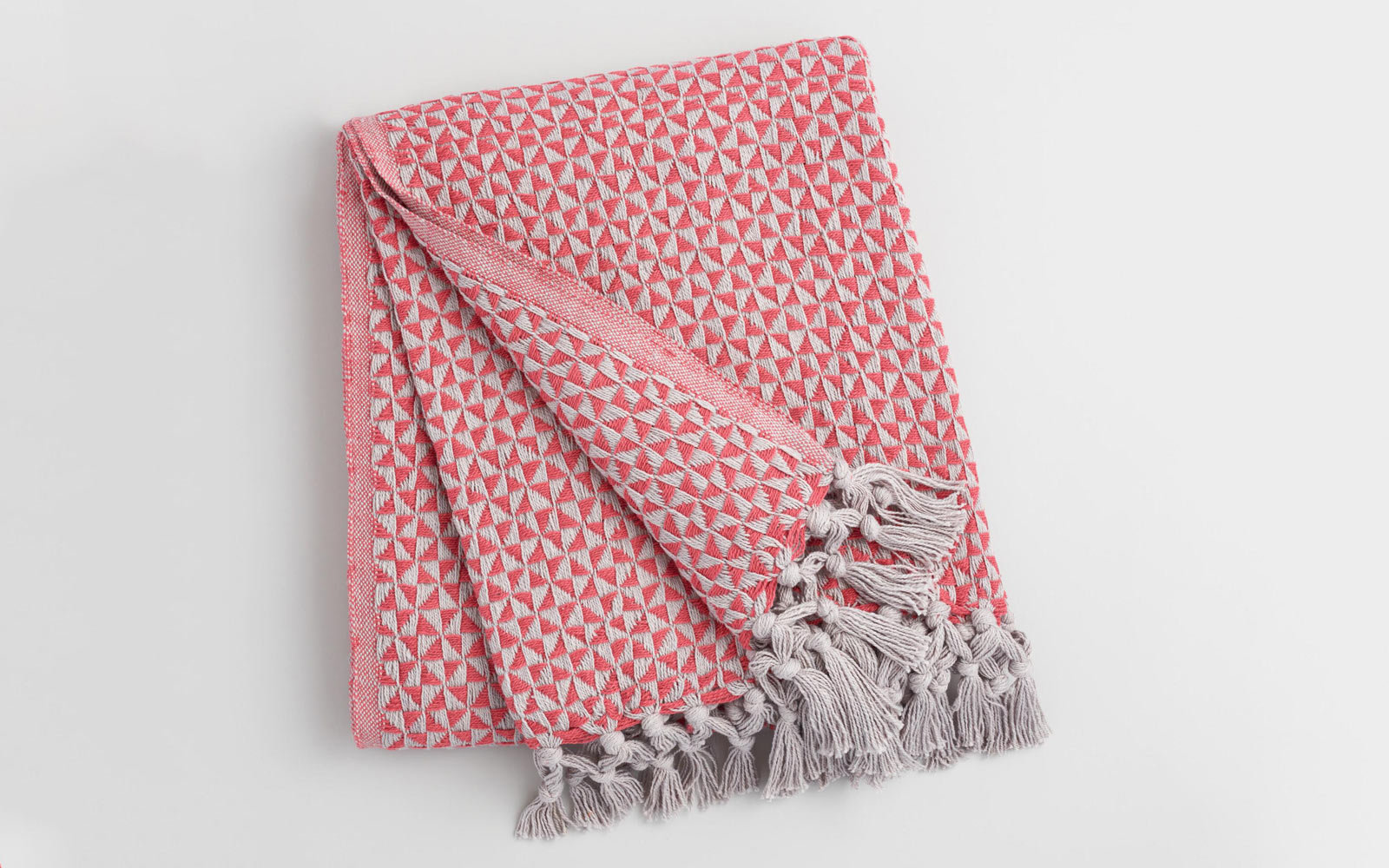Coral Red and Gray Geo Woven Throw