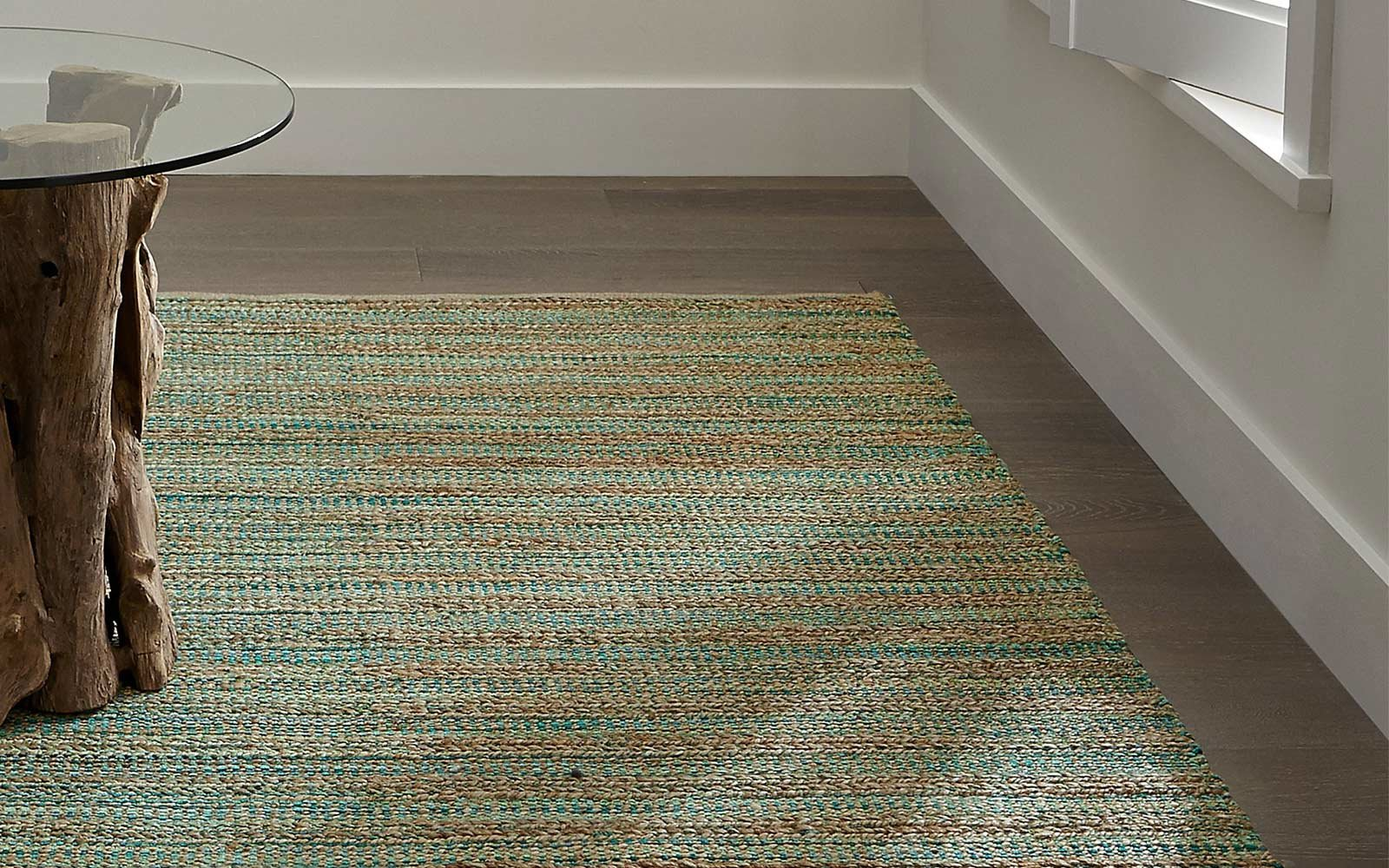 Crate and Barrel Jarvis Teal Blue Jute Blend Rug