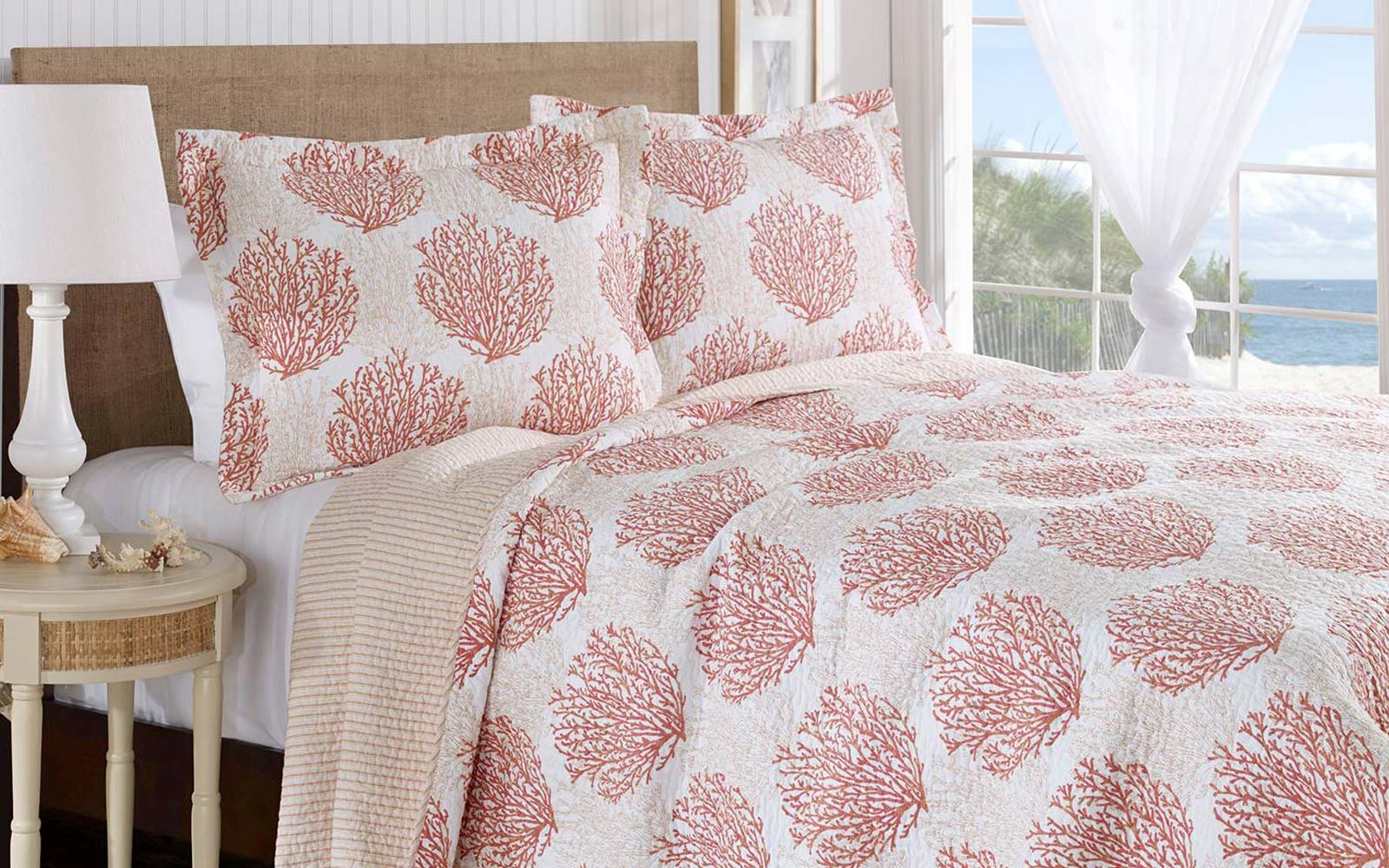 Laura Ashley Coral Coast, Coral Quilt Set
