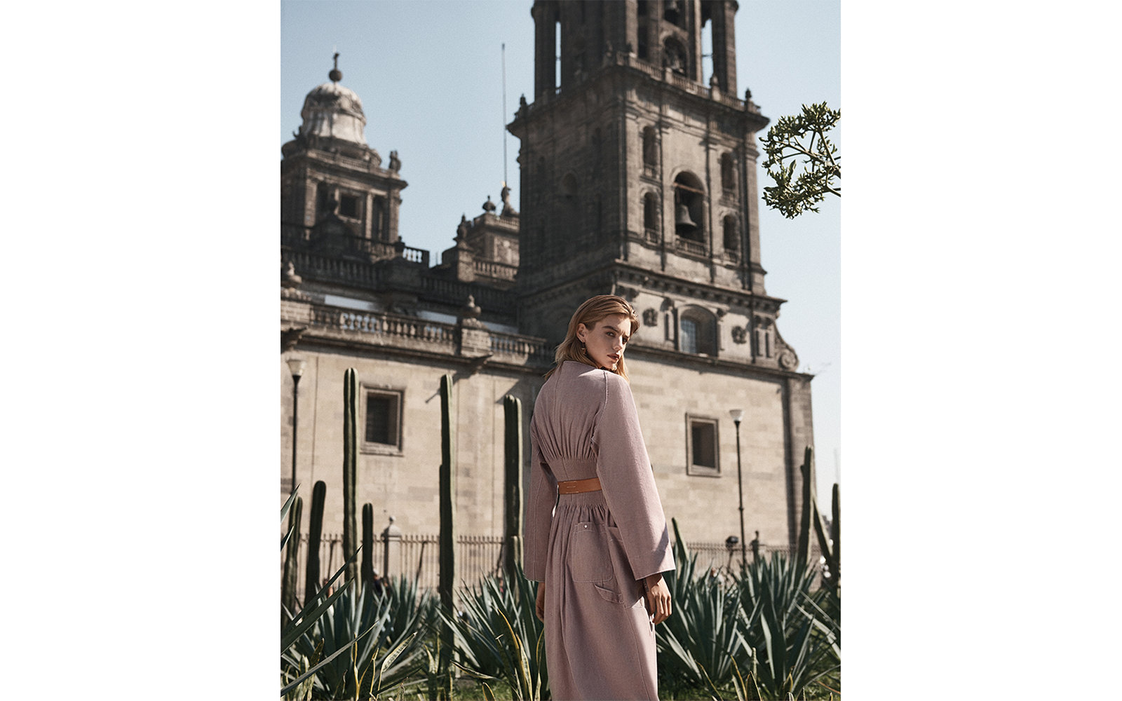 Model Michi Kat next to the Metropolitan Cathedral, in the city's historic center, the Zócalo