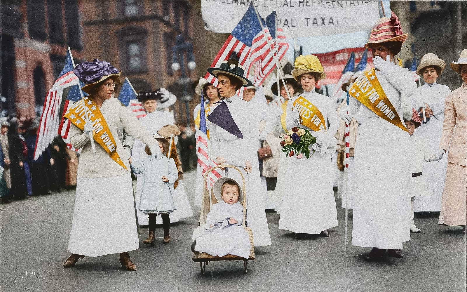 Colorized Photos Of Early Suffrage Womens Marches