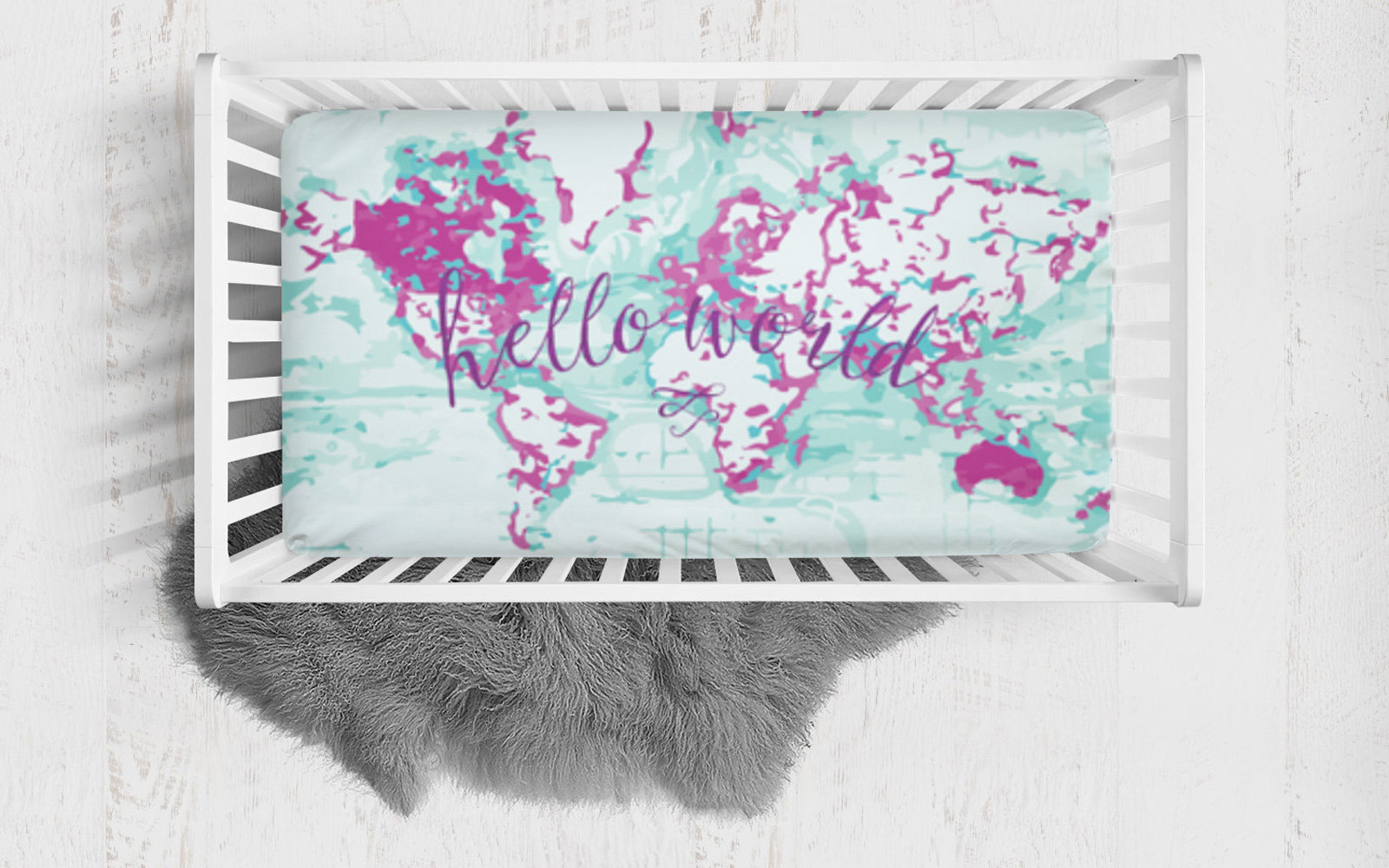 Travel themed nursery dcor and ideas travel leisure fitted crib sheet hello world gumiabroncs Gallery