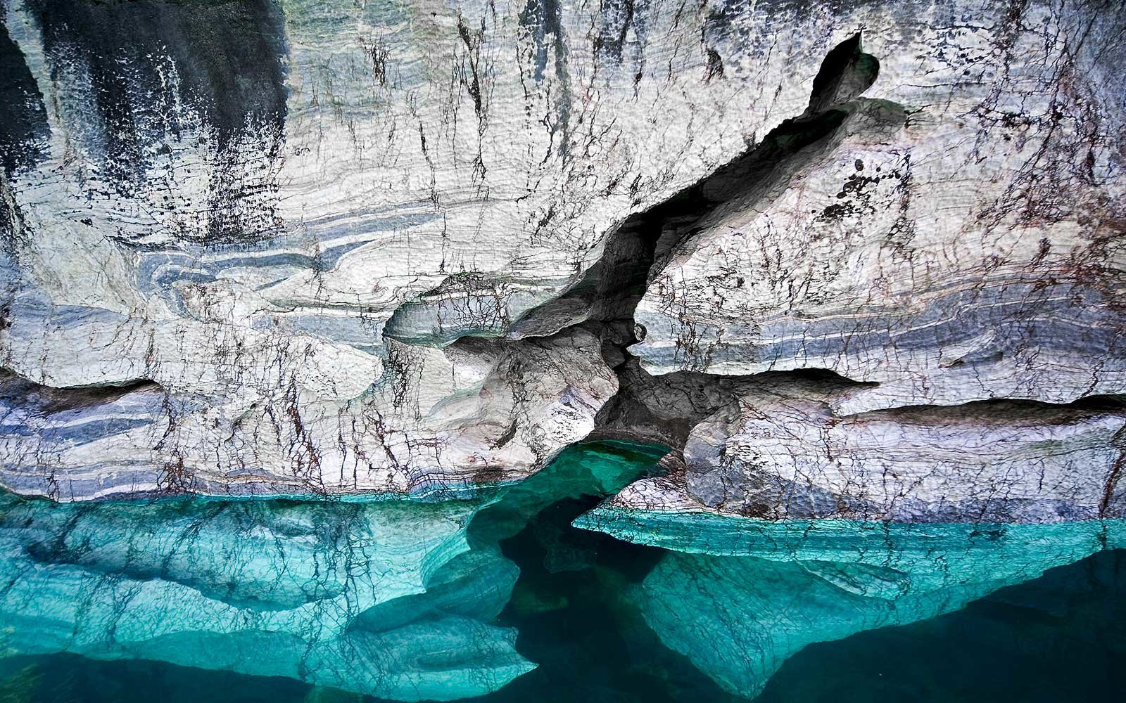 Underwater Look at the Marble Caves