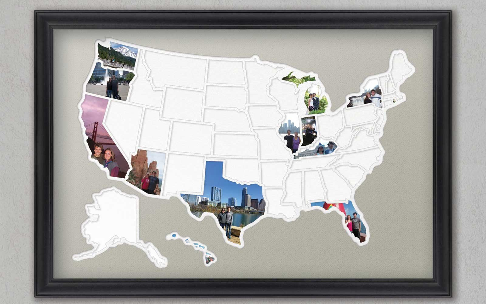 Gallery incredible cork board Diy Fifty States Photo Frame Etsy Travel Leisure 31 Brilliant Ways To Actually Use Your Travel Photos Travel Leisure