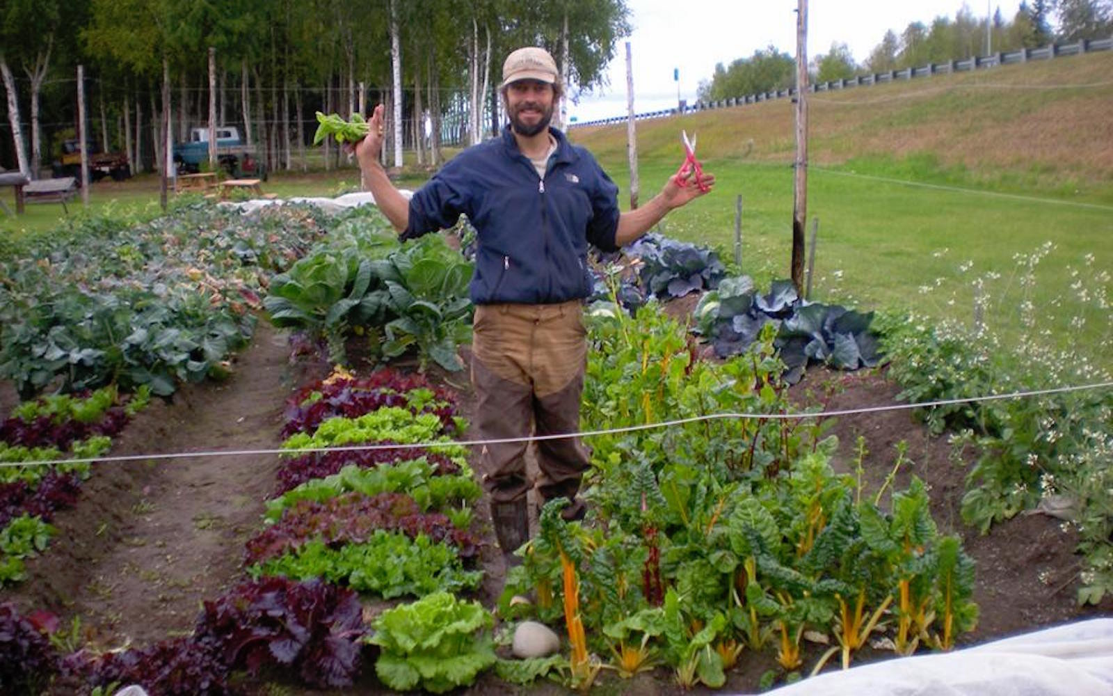 A farmer at Denali Organic Growers in Alaska
