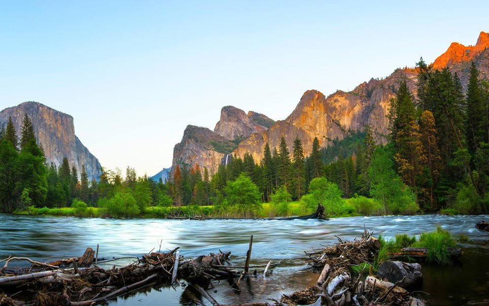 Panoramic View of El Capitan and Merced River in Spring, Yosemite National Park.